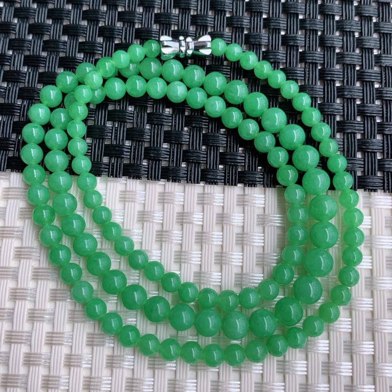 塔珠项链、尺寸:117颗3.6/5.8mm,A货翡翠冰润满绿塔珠项链、编号0301dz