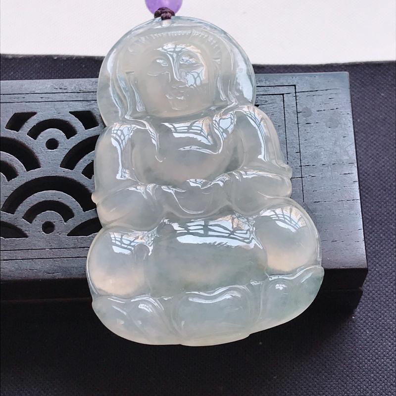 翡翠a货,冰糯种水润观音吊坠,玉质细腻,上身好看,尺寸54.8/34.9/6.2顶珠为装饰珠