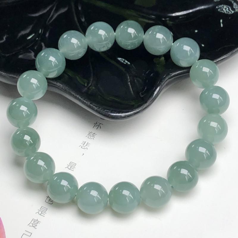 糯种深晴底翡翠珠链手串、直径10.1毫米、质地细腻、水润光泽、ADA155C2