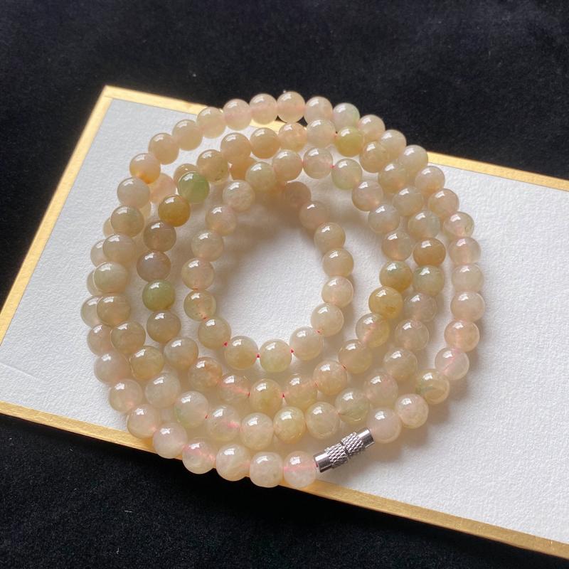 0223老坑精美水润黄翡天然A货翡翠玉珠项链 共110颗玉珠
