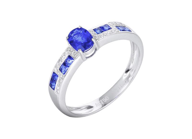 【18k金镶蓝宝石戒指 宝石参数:0.45+0.38ct  配石:钻石28颗,总重2.07克,圈口:14号(可改圈)】图5