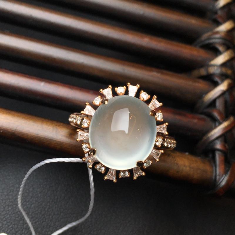 18k金镶缅甸天然翡翠A货 自然光实拍 高冰种玻璃底戒指 底子细腻 荧光感强 裸石12*10.8*5