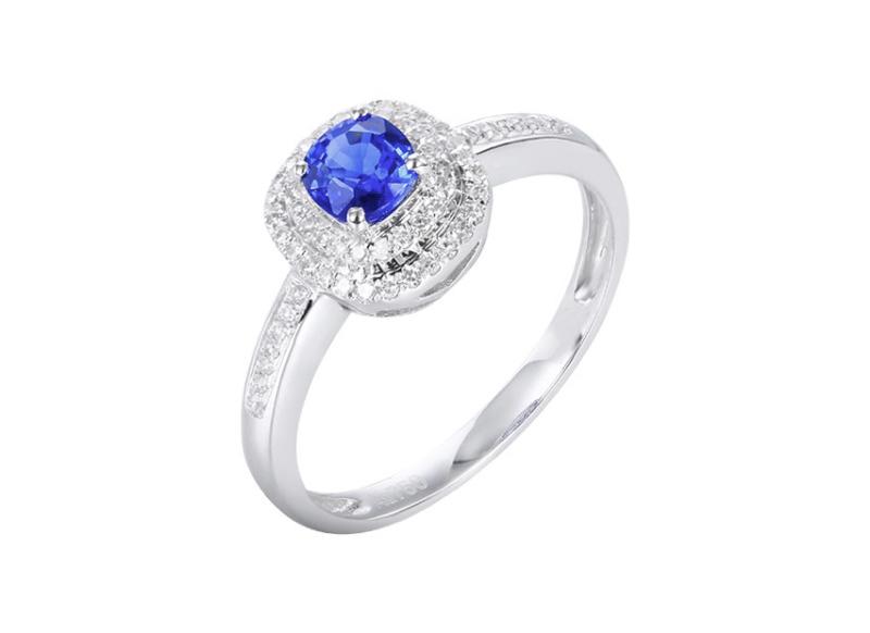 【18k金镶蓝宝石戒指 宝石参数:0.55ct  配石:钻石63颗,总重2.20克,圈口:14号(可改圈)】图5