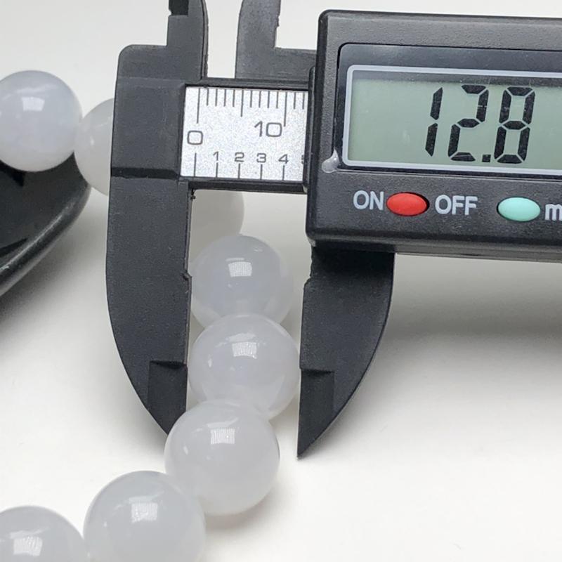 糯种翡翠珠链手串、直径12.8毫米、质地细腻、水润光泽、ADA217C15
