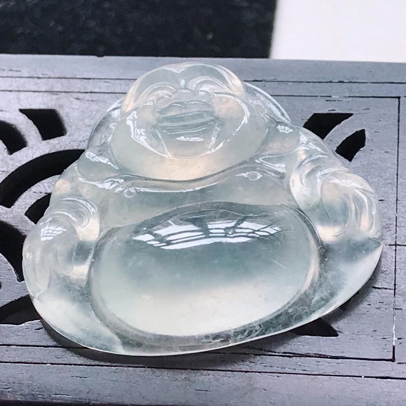 翡翠冰种水润起光佛公吊坠 玉质细腻  上身好看,尺寸26.5/30.0/7.5