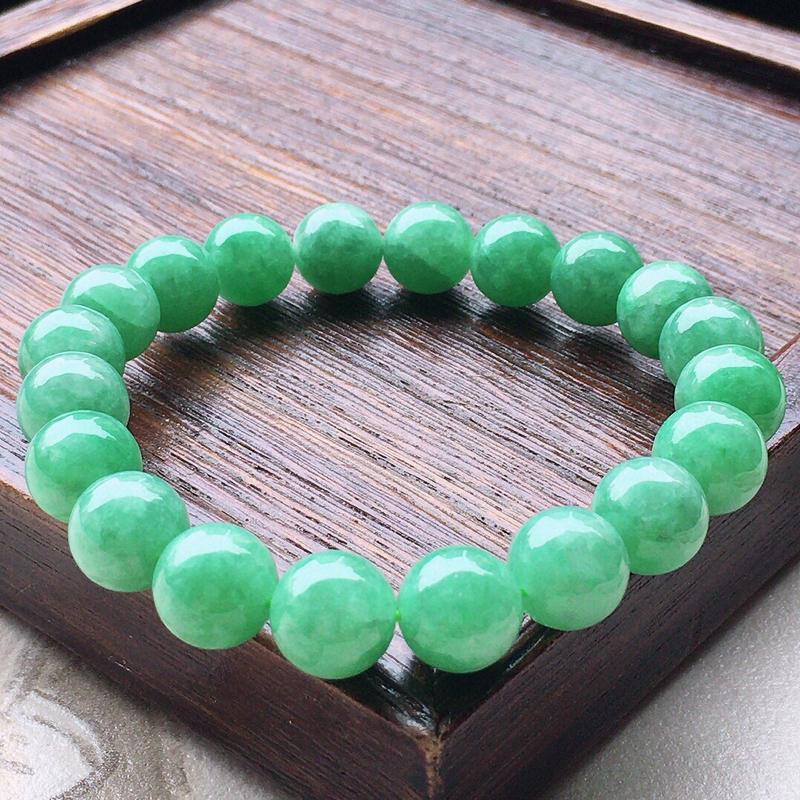 【超值精选】翡翠带绿圆珠手串,玉质莹润,佩戴佳品,尺寸:9.8mm,重32.98克