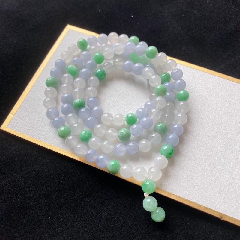 0223老坑精美水润双彩天然A货翡翠玉珠项链 共112颗玉珠
