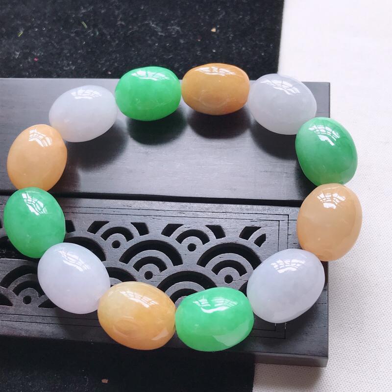 翡翠水润黄加绿路路通手链  玉质细腻,色美种足,上手高贵漂亮  尺寸其中一颗16.1/12.3/12.5
