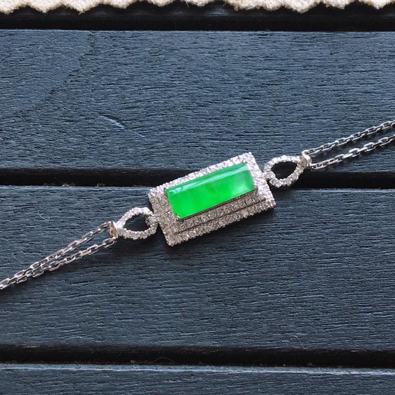【低价放漏】冰阳绿手链,自然光实拍,缅甸翡翠a货,18k金伴钻手链,种好通透,起荧光,种色迷人,款式