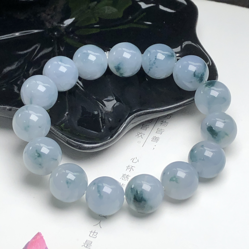 糯种蓝紫飘花翡翠珠链手串、直径13.9毫米、质地细腻、飘花灵动、ADA049C3