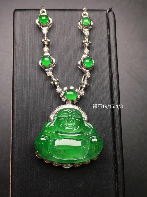 阳绿佛公锁骨链,18k金豪华镶钻,无纹无裂,种好色好,质量杠杠的,性价比超高