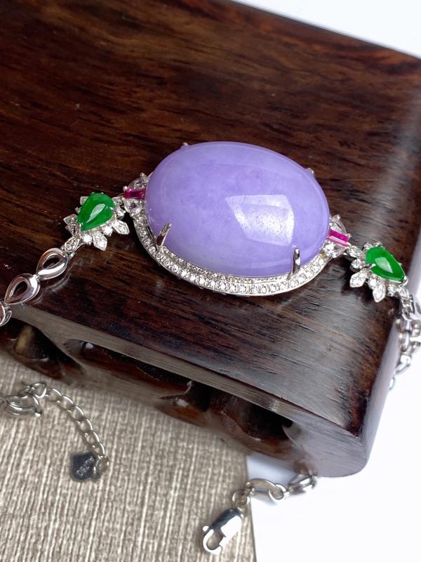 【超值精选】A货翡翠-种好紫罗兰18k金伴钻蛋面手链,尺寸-裸石23.8*18.7*7.3mm整体1