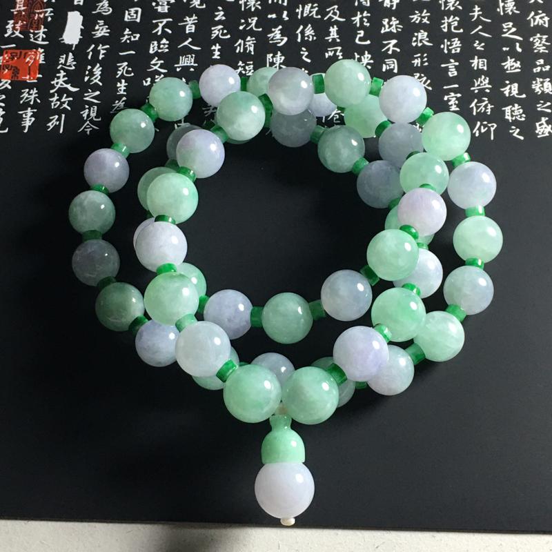 糯种春带彩珠链 50颗 直径11毫米 水润通透 色泽亮丽 颗粒饱满 大气精美