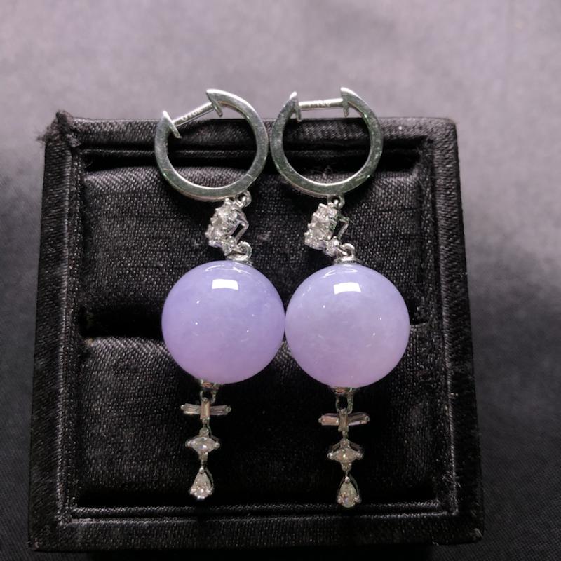 紫罗兰珠子耳坠,18k金豪华镶嵌,种水超好,玉质细腻。