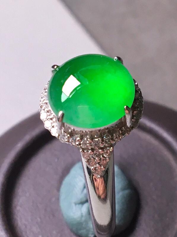 冰阳绿戒指,色辣水润,饱满无裂,裸石尺寸9.5/9.3/3--11.7/12.4/8.5#*