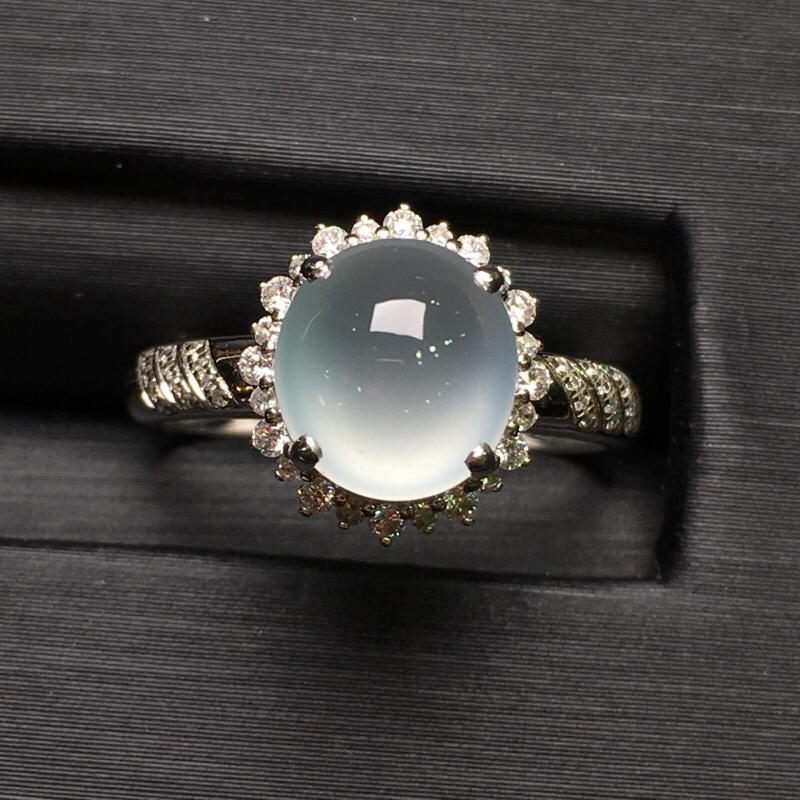 冰种蛋面女戒指,18k金豪华镶钻,无纹无裂,种好色好,质量杠杠的,性价比超高