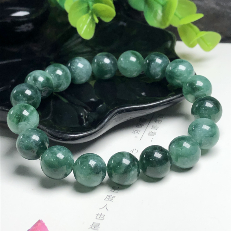 糯种飘蓝花翡翠珠链手串、直径11.5毫米、质地细腻、色彩独特、ADA023C4