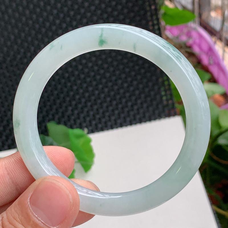 飘花圆条、圈口:56mm,A货翡翠飘花圆条手镯、编号0304dz#*