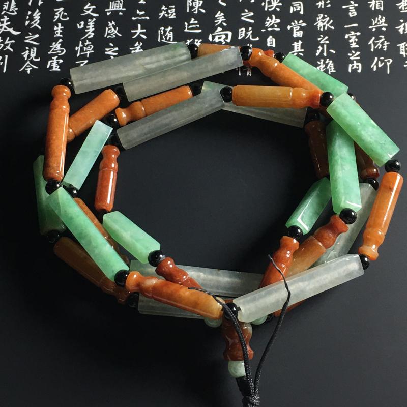 【超值精选】糯化种双彩路路通项链 32颗 尺寸30-5毫米 水润通透 色彩艳丽 独特精美