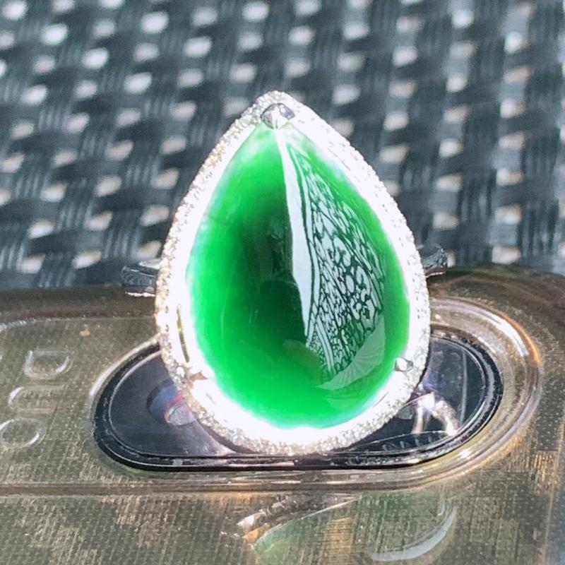 墨翠戒指、裸石尺寸:17/12.4/5mm、A货翡翠18k金伴钻全透绿墨翠戒指、编号0305dz