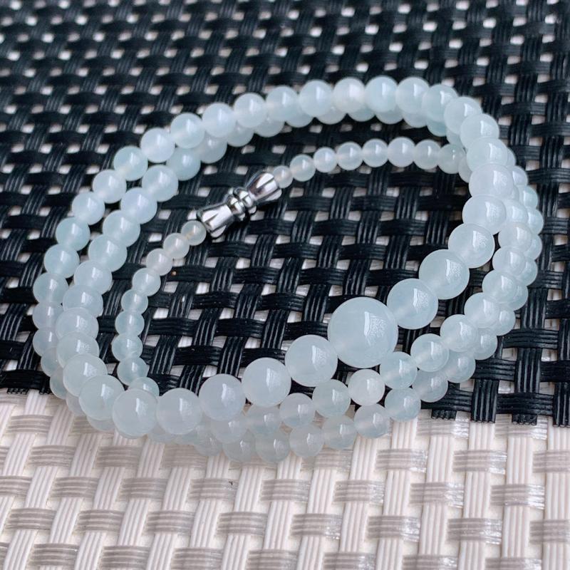 冰透塔珠项链、尺寸:114颗3.3/7.7mm、A货翡翠冰透塔珠项链、编号0305dz