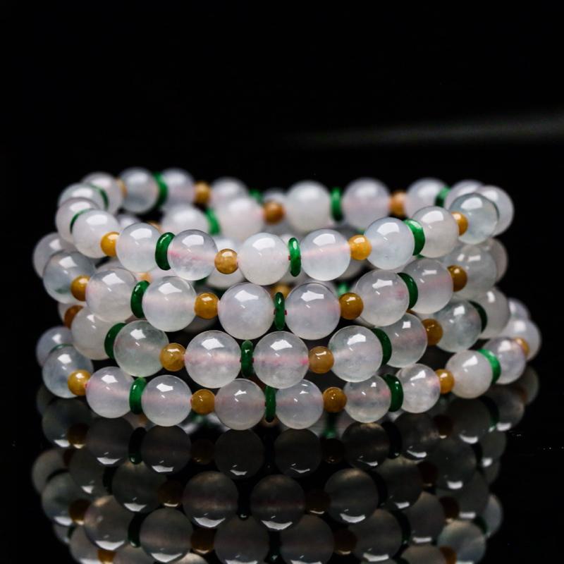 真心推荐天然翡翠珠链。共74颗(不含配珠),取其中一颗珠尺寸大约7.3mm,珠子玉质莹润,靓丽