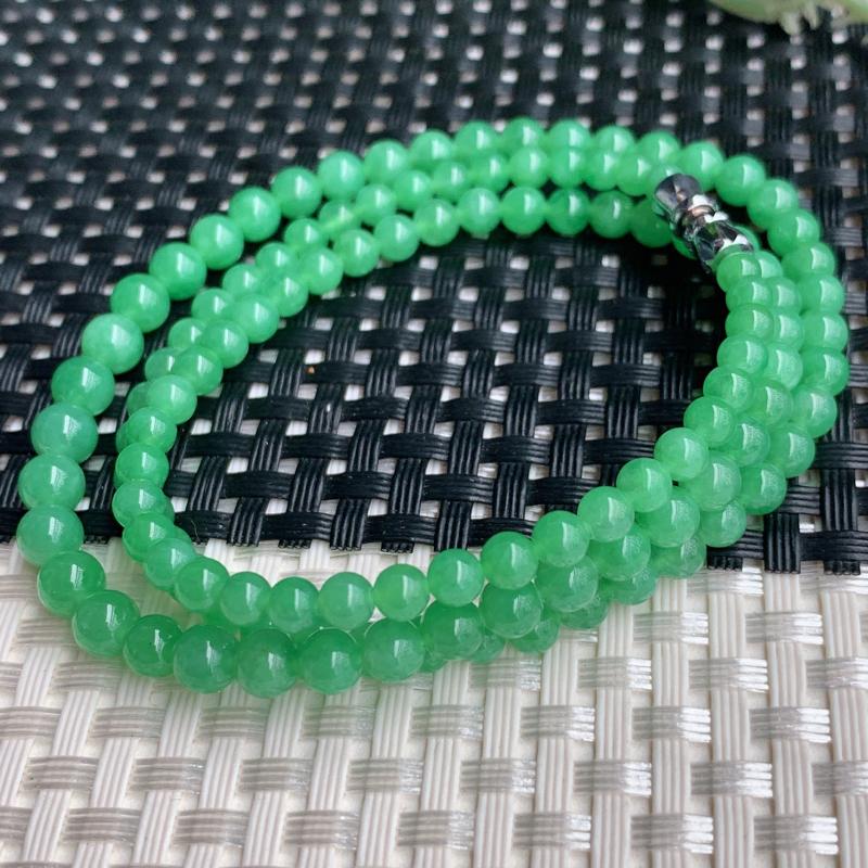 满绿项链、尺寸:119颗3.8/6mm,A货翡翠冰润满绿塔珠项链、编号0305dz