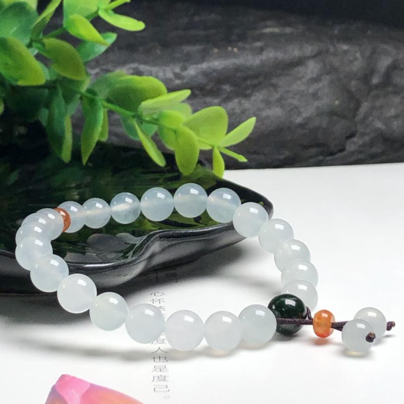 冰糯种翡翠珠链手串、直径7.7毫米、质地细腻、水润光泽、ADA187C12