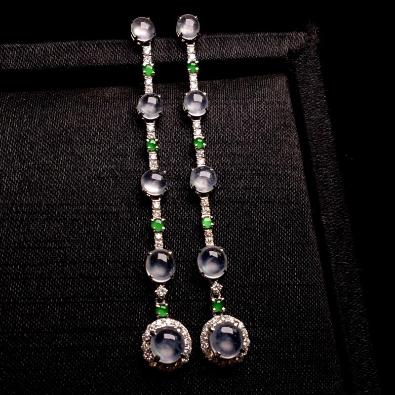 玻璃种18k金镶嵌耳坠,优雅精致,细腻通透起光,纯净水润,种老起胶,光感强烈,裸石:6*5*3,4*