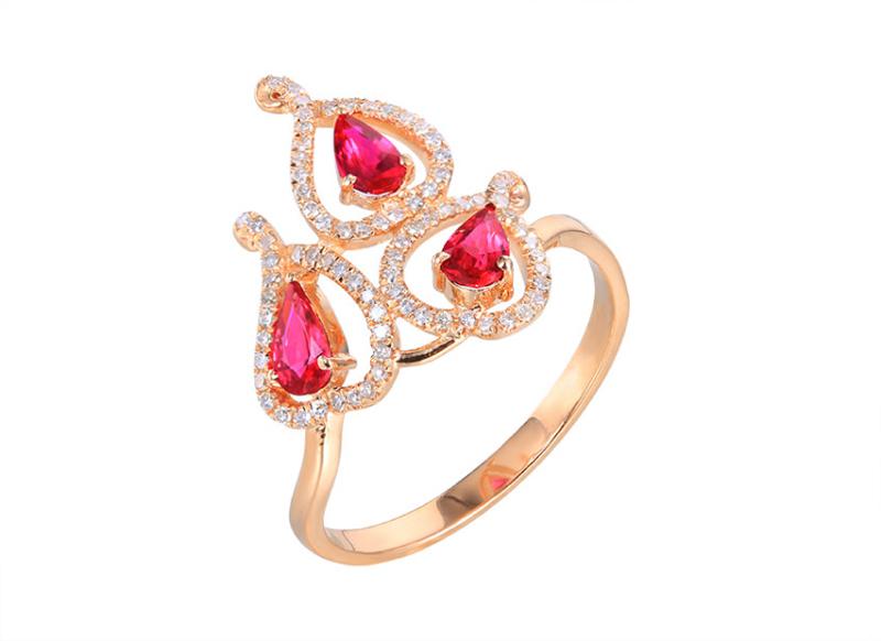 【18k金镶红宝石戒指 宝石参数:0.65ct  配石:钻石79颗,总重2.26克,圈口:13.5号(可改圈)】图5
