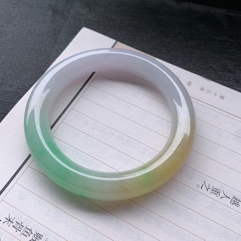 #自然光实拍#  三彩手镯、圈口:59mm 天然A货翡翠三彩圆条手镯 编号:CJF35-28