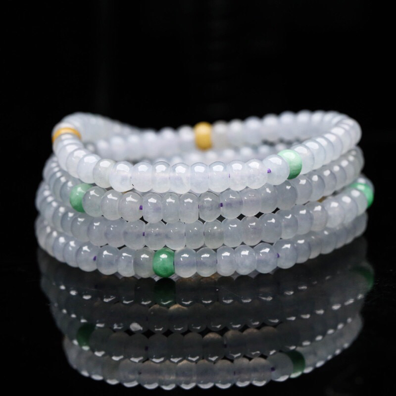 天然翡翠双彩珠链,共192颗珠子,取其中一颗珠尺寸大约4.1*6mm,实物漂亮,玉质莹润,清秀高雅