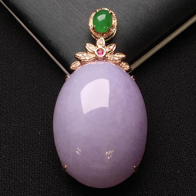 18K金钻镶嵌紫罗兰蛋面吊坠 圆润饱满 款式搭配满绿小蛋面 时尚唯美 整体尺寸40.7*19.6*1