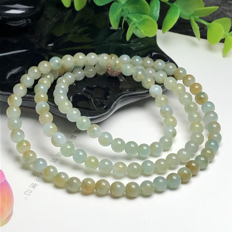 糯种蓝底黄翡翠珠链项链、108颗、直径6.4毫米、质地细腻、色彩鲜艳、隔珠是装饰品、ADA155C1