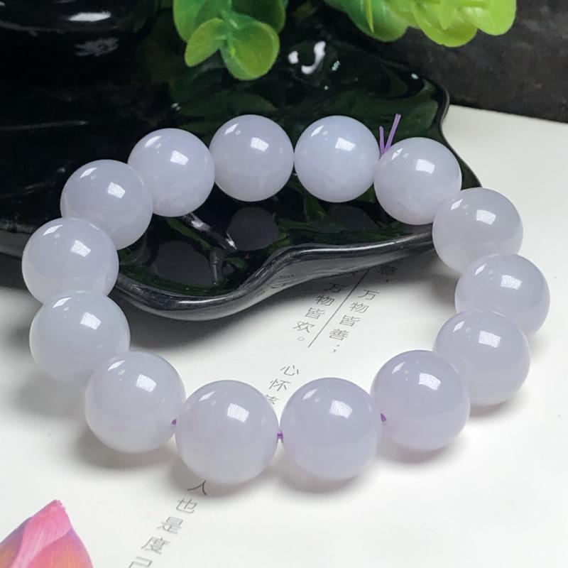 糯化种蓝紫翡翠珠链、直径15.2毫米、质地细腻、水润光泽、ADA267C5