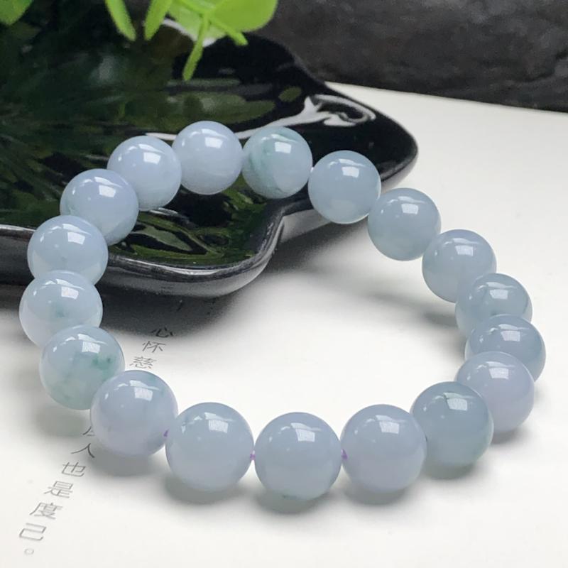 糯种蓝紫飘花翡翠珠链手串、直径10.7毫米、质地细腻、色彩鲜艳、ADA041C2