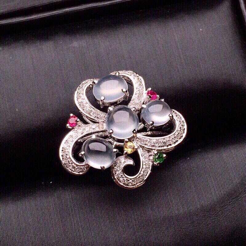 冰蛋面组合戒指质地细腻 种水好 冰润起光 时尚精美 18K金钻配宝石镶嵌圈口12.5整体14.8*1