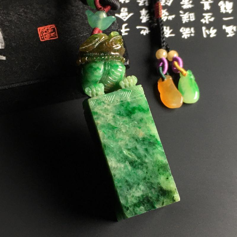 糯种黄加绿【招财貔貅】印章 雕工精湛 色彩艳丽 款式时尚 品相佳