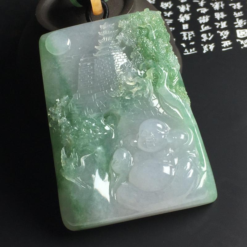 晴绿弥勒佛吊坠 尺寸71-52-13毫米 水润细腻 色彩亮丽 雕工精湛