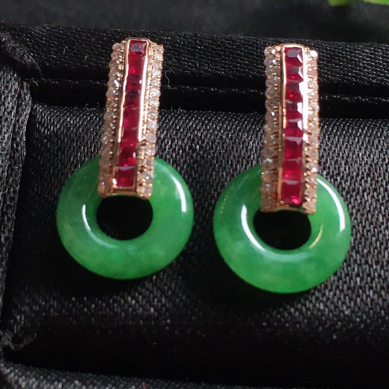 【值得推荐】好漂亮的满绿玉环平安耳钉,平安吉祥,18k金伴钻镶嵌,精美大方,低调奢华,尺寸19.3