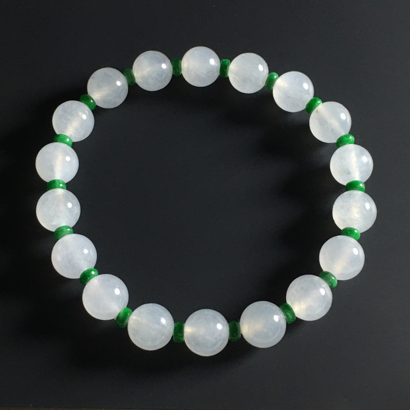 冰种佛珠手串 18颗 直径8毫米 晶莹剔透 清爽细腻