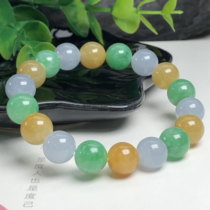 冰糯种多彩翡翠珠链手串、直径10.8毫米、质地细腻、色彩鲜艳、ADA028D1