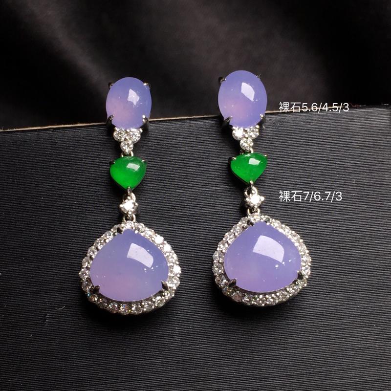 紫罗兰蛋面耳坠,18k金豪华镶钻,无纹无裂,种好色好,质量杠杠的,性价比超高