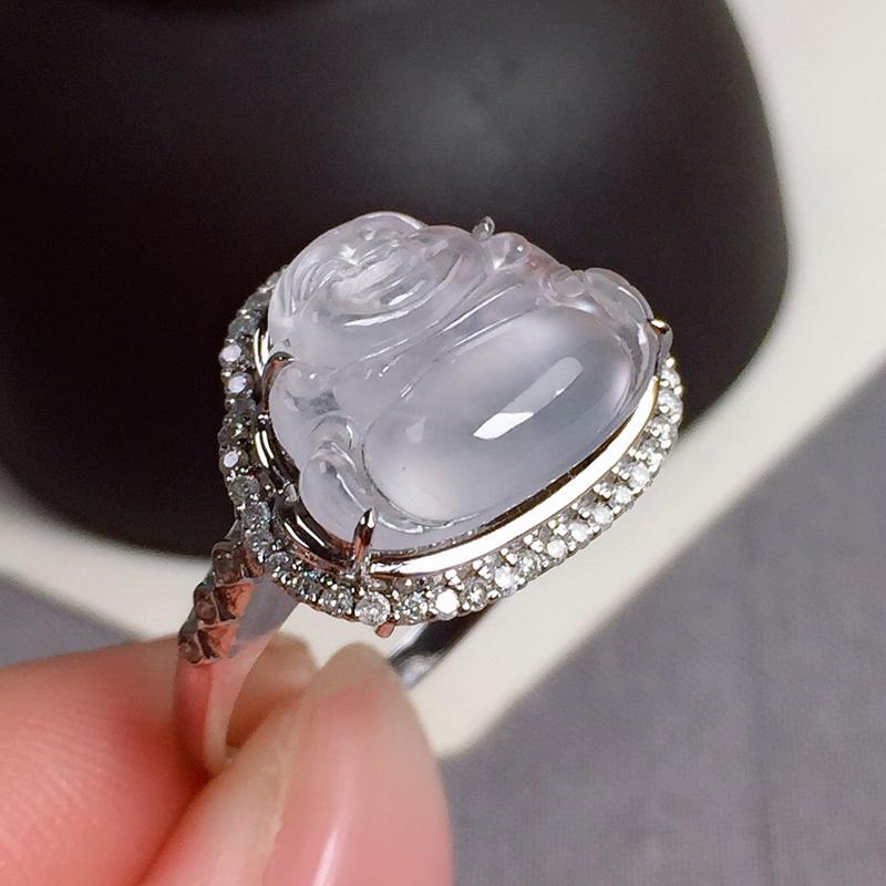 冰种佛公翡翠戒指,种水好,玉质冰透起光,指圈:13#,尺寸:11.4-14.5-4.3