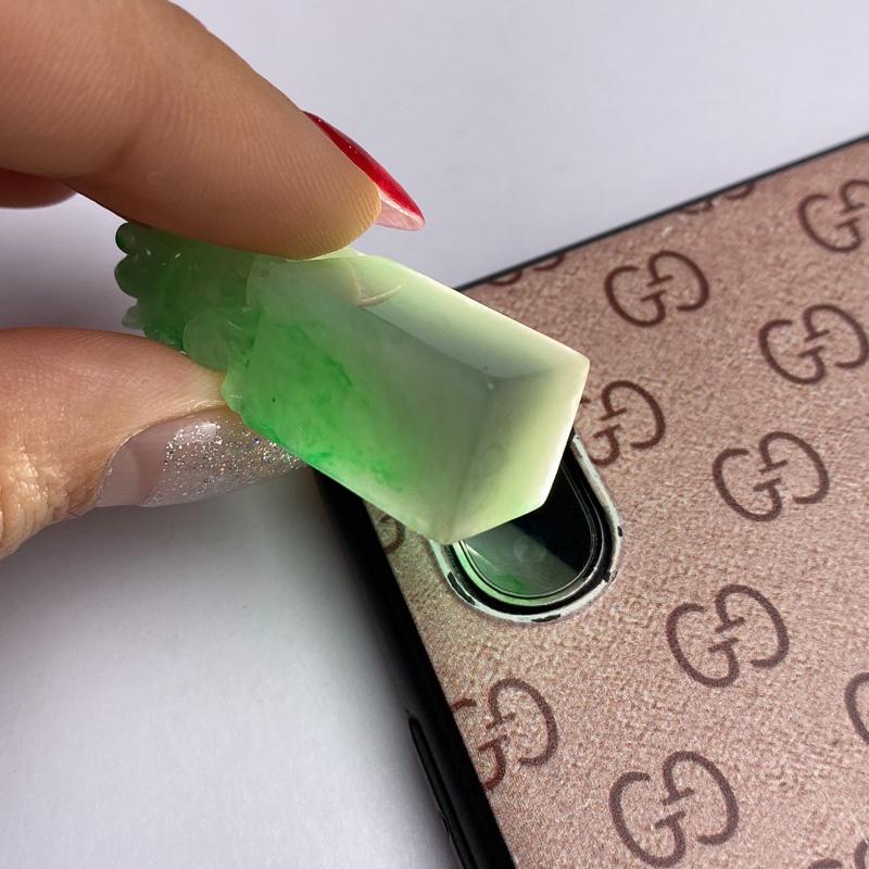 A货翡翠-种好飘绿貔貅印章,尺寸-36.1*12*11.9mm