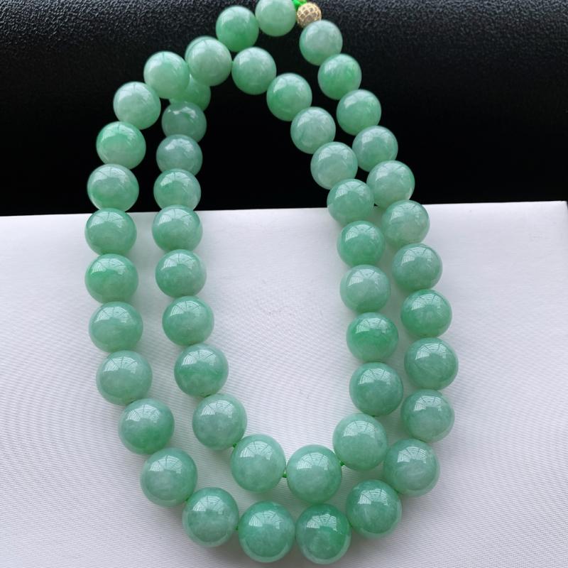 🙏缅甸天然翡翠A货   清新淡雅圆珠项链,尺寸:13.5,寓意峰回路转,圆圆满满,财富越聚越多,福气