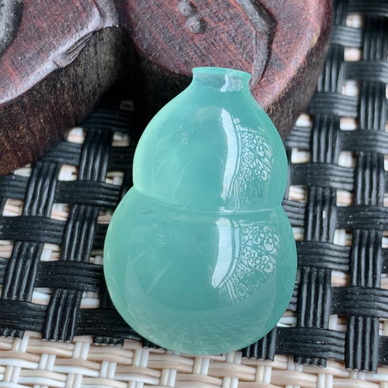 葫芦戒面、A货翡翠冰透满绿葫芦戒面、编号0316