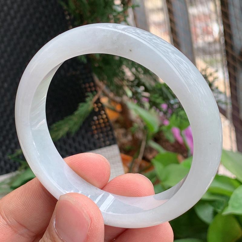 细腻手镯、圈口:58.5mm,A货翡翠细腻宽边手镯、编号0324a