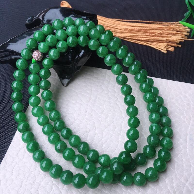 水润油润细腻圆珠项链,手链,玉手串,底色均匀,种老水足,饱满圆润,配珠为装饰珠!尺寸:6.6mm10