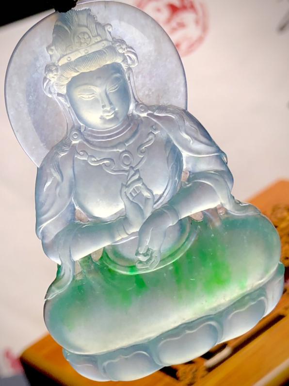 绿花观音菩萨, 慈悲为怀, 锐光玉雕作品, 61-41-7.5mm, 28.82g, 种老水头好,料